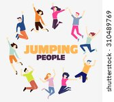group of young people jumping... | Shutterstock .eps vector #310489769