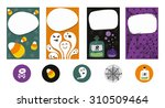 set of 4 halloween cards and... | Shutterstock .eps vector #310509464