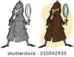detective with magnifying glass | Shutterstock .eps vector #310542935