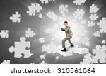 cheerful young businessman... | Shutterstock . vector #310561064