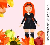 vector illustration with cute... | Shutterstock .eps vector #310572614
