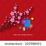 oriental paper lantern. mid... | Shutterstock . vector #310588451