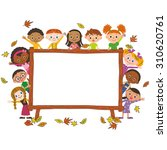 autumn frame and children | Shutterstock .eps vector #310620761