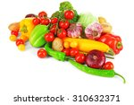 heap of fresh vegetables... | Shutterstock . vector #310632371
