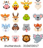 Stock vector collection of cute face animal 310653017
