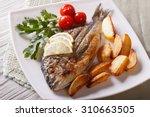 Grilled dorado fish with fried...