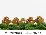 five gingerbread men against... | Shutterstock . vector #310678745