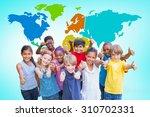 happy friends in the park... | Shutterstock . vector #310702331
