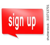 sign up word on red speech