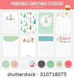 cute vector cards  notes ... | Shutterstock .eps vector #310718075