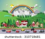 urban and village landscapes ... | Shutterstock .eps vector #310718681