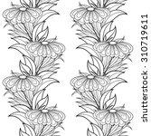 seamless monochrome floral... | Shutterstock . vector #310719611