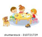 cute kids in kindergarden   Shutterstock .eps vector #310721729