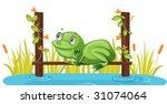 illustration of frog sitting on ... | Shutterstock . vector #31074064
