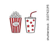popcorn and drink isolated on...   Shutterstock .eps vector #310742195