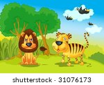 illustration of lion and tigers ...   Shutterstock .eps vector #31076173
