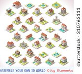 isometric building icon city... | Shutterstock .eps vector #310763111