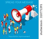 isometric social web megaphone... | Shutterstock .eps vector #310771391