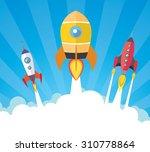 cartoon spaceships launch   Shutterstock .eps vector #310778864