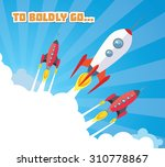 cartoon spaceships launch | Shutterstock .eps vector #310778867