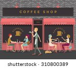 coffee shop scene of people... | Shutterstock .eps vector #310800389