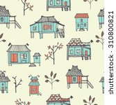 set of hand drawn houses.... | Shutterstock .eps vector #310800821