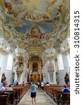 Small photo of STEINGADEN, GERMANY - AUGUST 11, 2015: Interior of Wieskirche - the famous pilgrimage Church of the Scourged Saviour near Steingaden in Bavaria,Germany - an UNESCO world heritage site.