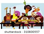 diverse group of friends... | Shutterstock .eps vector #310830557