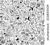 huge hand drawn doodle set | Shutterstock .eps vector #310855439