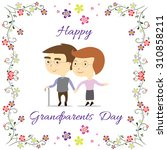 grandparents standing with... | Shutterstock .eps vector #310858211