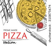 pizza food cover drawing style... | Shutterstock .eps vector #310875674