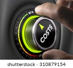 Small photo of Man fingers setting cost button on minimum position. Concept image for illustration of cost management.