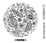 amazing bird feathers  flowers  ... | Shutterstock .eps vector #310880171