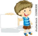 illustration of boy showing... | Shutterstock .eps vector #31088308