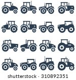 vector icons of a tractor | Shutterstock .eps vector #310892351