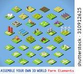 isometric building farm... | Shutterstock .eps vector #310912625