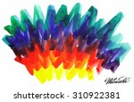 watercolor bright rainbow... | Shutterstock . vector #310922381