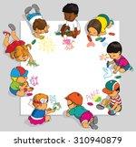 group of happy children draw on ... | Shutterstock .eps vector #310940879