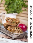 vegan cake with apple  nuts and ... | Shutterstock . vector #310946381