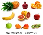 a lot of delicious fresh fruits ... | Shutterstock . vector #3109491