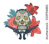 day of the dead card with... | Shutterstock .eps vector #310956881