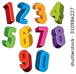 3d numbers set made with round... | Shutterstock . vector #310986227