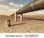 pipeline in desert - stock photo