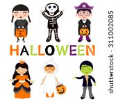 cute colorful halloween kids... | Shutterstock .eps vector #311002085