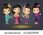cartoon vector thailand women... | Shutterstock .eps vector #311003909