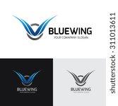blue wing logo wing logo eagle... | Shutterstock .eps vector #311013611