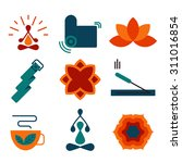 colorful vector yoga icons and... | Shutterstock .eps vector #311016854