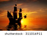 Old Ancient Pirate Ship On...