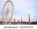 Ferries Wheel In Paris At Dusk...