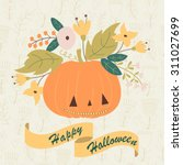 Halloween Card With Cute...